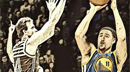 """""""Ūsuotas lietuvis svečias"""": ką apie R.Kurtinaitį NBA tritaškių konkurse rašė """"NY Times"""""""