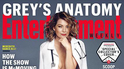"""Žurnalo viršelyje apsinuoginusi """"Grei anatomijos"""" žvaigždė Ellen Pompeo virto seksualia daktare"""