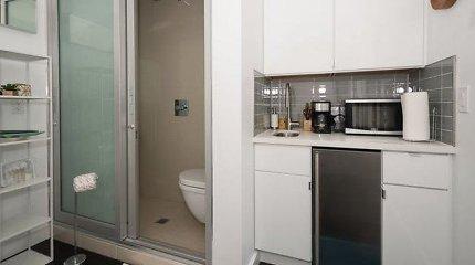 Tualetas, dušas ir kriauklė viename: ar sutiktumėte gyventi tokiame būste?