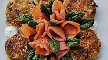 """""""Aurimėlio virtuvės"""" receptas: varškės blyneliai su špinatais ir lašiša"""