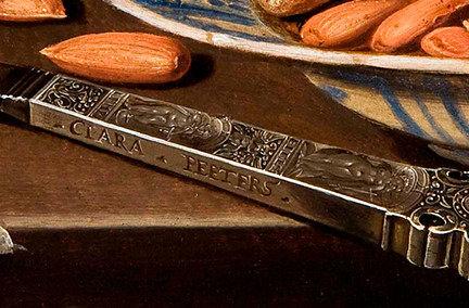 Claros Peeters paveikslo dalis/Claros Peeters parašas, paslėptas paveiksle