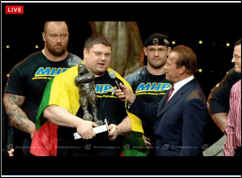 Youtube.com nuotr./Žydrūnas Savickas ir Arnoldas Schwarzeneggeris