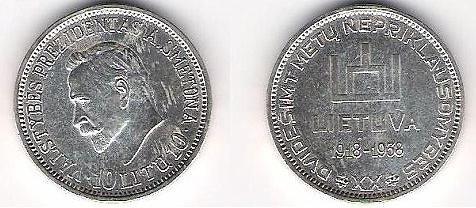Pinigų muziejaus nuotr./10 litų moneta su A.Smetonos atvaizdu
