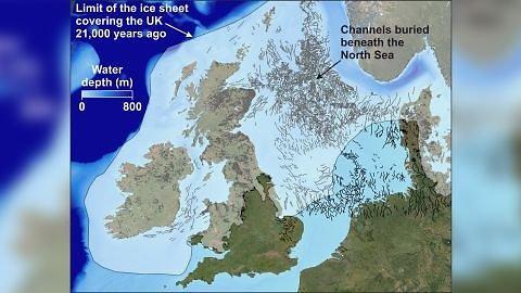 British Antarctic Survey/Šiame žemėlapyje galima pamatyti tunelių apimamą plotą Šiaurės jūroje