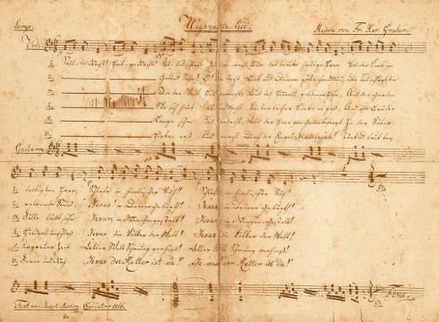 Wikipedia nuotr./Vienas iš giesmės rankraščių, kaip manoma, surašytas Josepho Mohro ranka