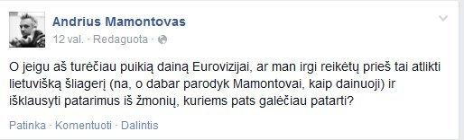Facebook nuotr./Andriaus Mamontovo klausimas socialiniame tinkle
