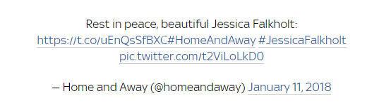 """Klaidinanti """"Twitter"""" žinutė apie Jessicos Falkholt mirtį jau ištrinta"""