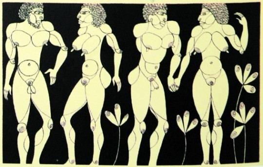 ADOMAS IR IEVA. piešiniai tušu, sukurti 1969-1970 m.