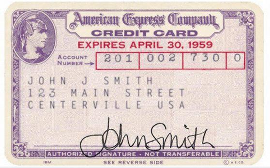 Viena pirmųjjų kreditinių kortelių 1959m.