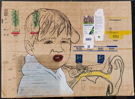 Ligos istorija VII / J.Kyzikaitė / 2009, popierius, mišri technika, siuvinėjimas, 42,5 x 59 cm