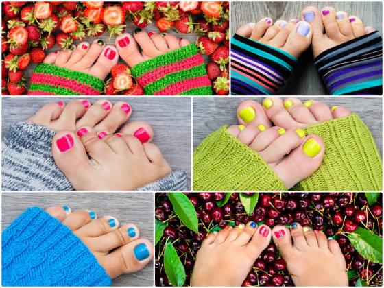 Shutterstock nuotr./Įvairių spalvų pedikiūras