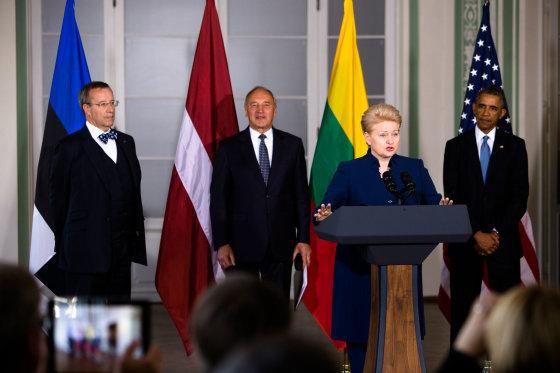 René Velli/ Estijos Prezidento kanceliarijos nuotr./D.Grybauskaitės vizitas Taline, kur Baltijos šalių prezidentai susitiko su B.Obama