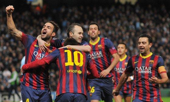 """Scanpix"" nuotr./""Barcelona"" švenčia  Lionelio Messi įvartį"