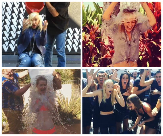 Žmonės.lt montažas/Garsenybės masiškai priima ledinio kibiro iššūkį (iš kairės): Gwen Stefani, Hilary Duff, Iggy Azalea, Jaime King ir Taylor Swift