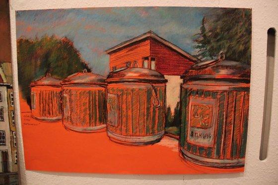 Asmeninio archyvo nuotr./Atliekų konteinerius ties V.Trinkūno namu savo paveiksle įamžino vietos dailininkas Gerardas Raitas Šatūnas.