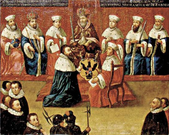 LDM nuotr. /Šventosios Romos imperijos kunigaikščio titulo suteikimas Mikalojui Radvilai Juodajam 1547 m.