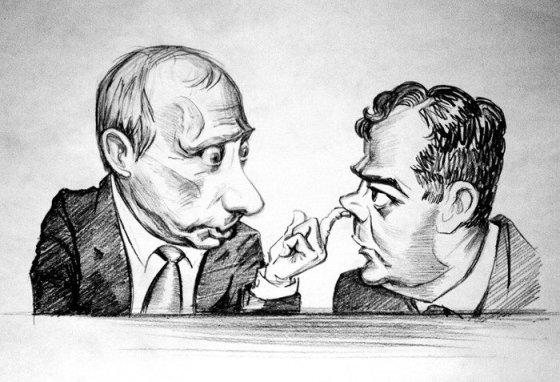 Deniso Lopatino karikatūra/Vladimiro Putino ir Dmitrijaus Medvedevo karikatūra