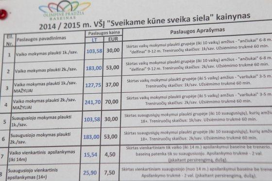 """Irmanto Gelūno/15min.lt nuotr./Baseino """"Olimpinė pradžia"""" kainynas"""