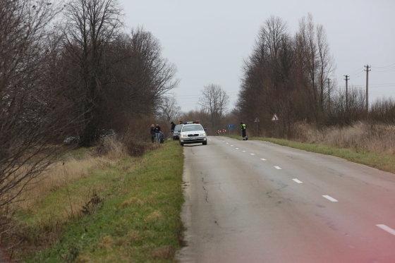 """Nojaus nuotr./Parodymų patikrinimas įvykio vietoje: šioje šalikelėje netoli Priekulės V.Jankausko """"Hyundai"""" buvo nulėkęs į griovį."""