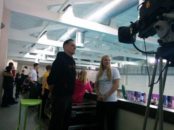 Čempionato akimirka Rūta Meilutytė ir Algirdas Kaušpėdas