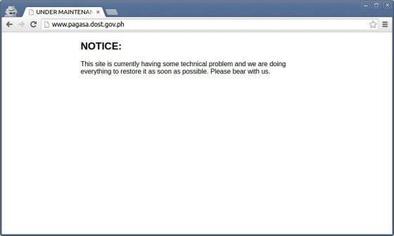 Oro biuro Pagasa svetainė neveikia