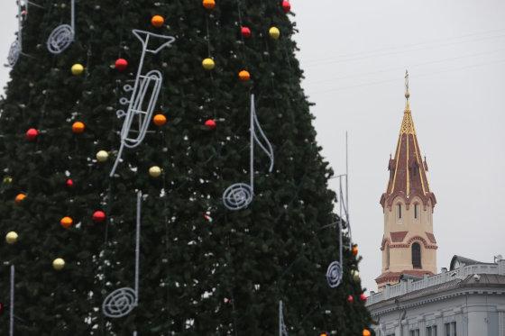 Juliaus Kalinsko/15min.lt nuotr./Rotušės aikštėje kalėdinė eglė jau stovi