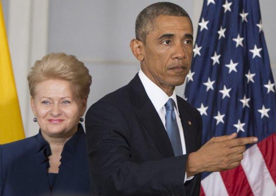 """AFP/""""Scanpix"""" nuotr./JAV prezidentas Barackas Obama ir Lietuvos prezidentė Dalia Grybauskaitė"""