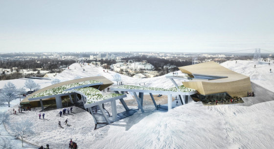 """Daniel Libeskind"" nuotr./Liepkalnio slidinėjimo centro projekto vizualizacija"