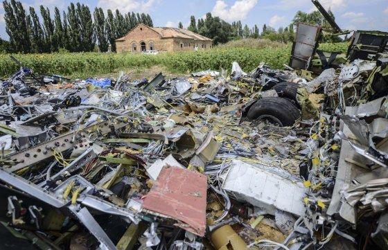 """AFP/""""Scanpix"""" nuotr./Numušto """"Malaysia Airlines"""" lėktuvo nuolaužos Donecke, Ukrainoje."""