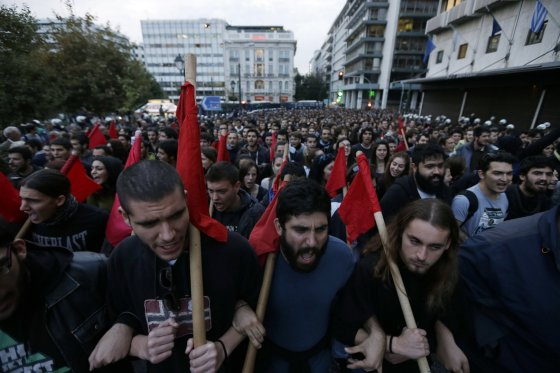 """""""Scanpix""""/AP nuotr./Protestuotojai Atėnuose"""