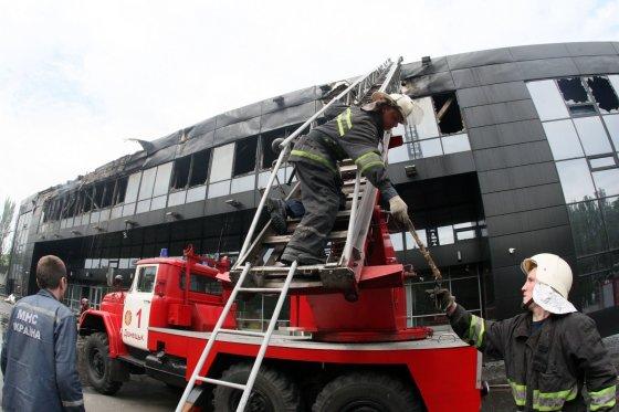 "AFP/""Scanpix"" nuotr./Separatistai Donecke nusiaubė ledo ritulio arena"