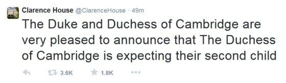 """""""Twitter"""" įrašas/Klarenso rūmų pranešimas apie antrąjį Kembridžo hercogienės Catherine nėštumą"""