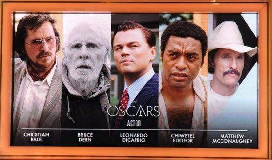 Dėl geriausio aktoriaus titulo grumsis Christianas Bale'as, Bruce'as Dernas, Leonardo DiCaprio, Chiwetelas Ejioforas ir Matthew McConaughey