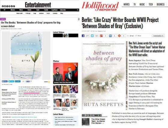"""Rūtos Šepetys romano """"Tarp pilkų debesų"""" ekranizacijai – svarbiausių Holivudo leidinių dėmesys"""