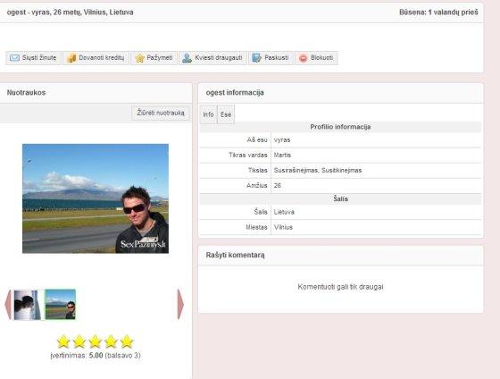 Vartotojo Ogest anketa pažinčių portale