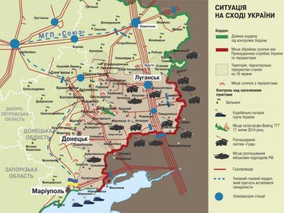 """""""Zerkalo nedeli"""" žemėlapis/Mūšių Donbase ir dujotiekių žemėlapis"""
