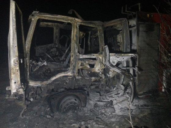 Nojaus nuotr./Sudegęs ugniagesių automobilis