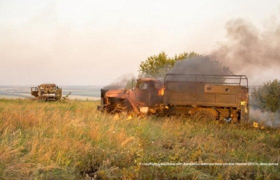 """Ukrainos pasienio tarnybos nuotr./Ukrainos pasienio punktas """"Marinovka"""" po mūšio su teroristais"""