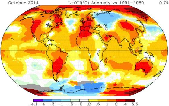 NASA žemėlapis, kuriame matosi spalio temperatūra