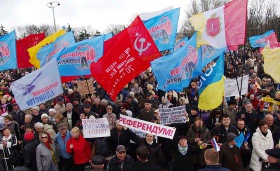 """AFP/""""Scanpix"""" nuotr./Prorusiškas protestas Odesoje"""