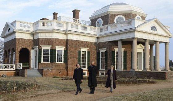 """""""Scanpix"""" nuotr./JAV ir Prancūzijos vadovai apsilankė prezidento Thomo Jeffersono memorialinėje viloje"""
