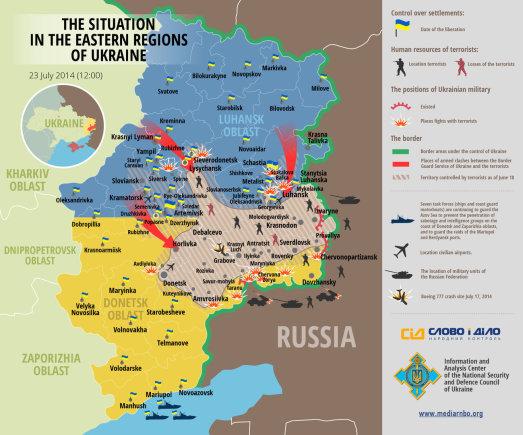 Situacija Rytų Ukrainos frontuose (07 23)