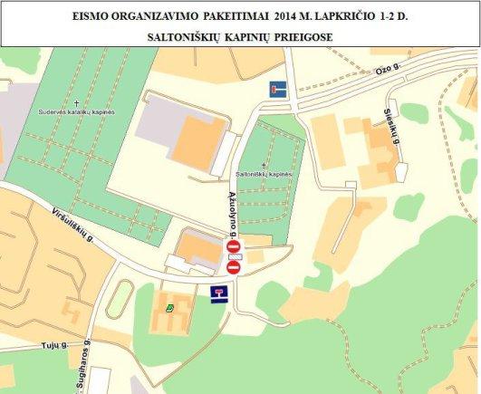Vilniaus m. savivaldybės iliustr./Keičiamas eismo organizavimas prie kapinių