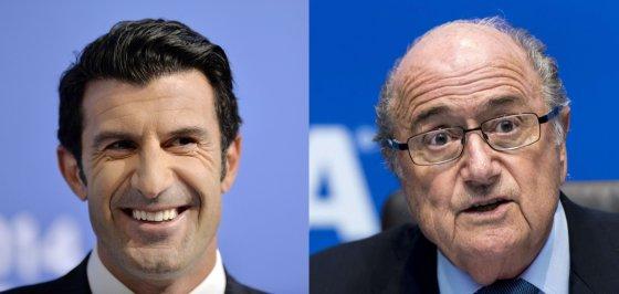 """AFP/""""Scanpix"""" nuotr./Luisas Figo ir Seppas Blatteris"""