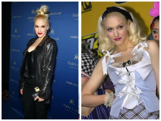 """""""Scanpix"""" nuotr./Gwen Stefani (kairėje 2014 m., dešinėje - 2004 m.)"""