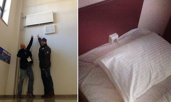 Rozetė lovos galvūgalyje ir aukštai prikabintas radiatorius