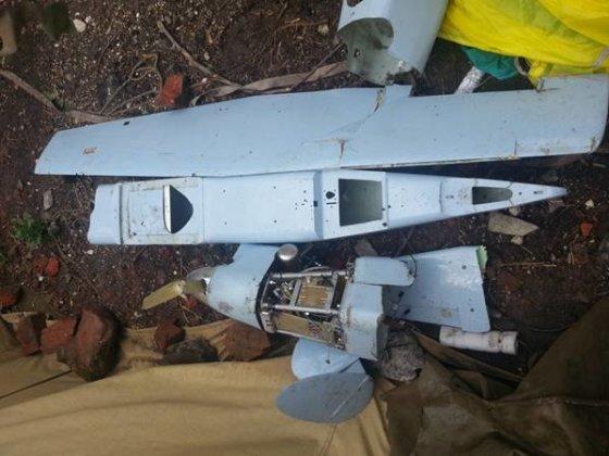Ukrainos karinių pajėgų nuotr./Nepilotuojamas žvalgybinis lėktuvas, kurį numušė Ukrainos kariškiai