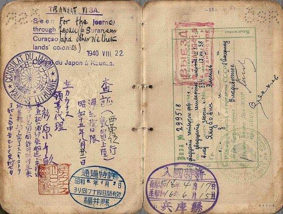 Asmeninio albumo nuotr./1940 išduota Č.Sugiharos viza