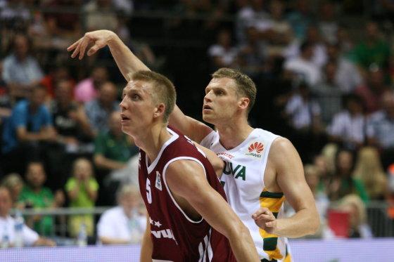 Alvydo Januševičiaus nuotr./Lietuvos krepšinio rinktinė įveikė Latviją 93:74