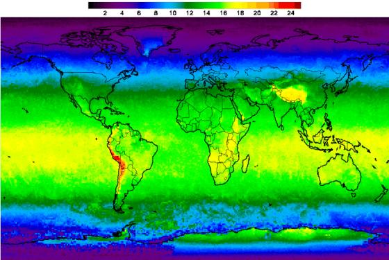 Ultravioletinių spindulių indeksas (UVI), parodantis saulės intensyvumą skirtingose Žemės vietose.